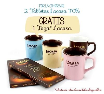 2 Tabletas de Chocolate 70% cacao Lacasa + Taza Lacasa GRATIS