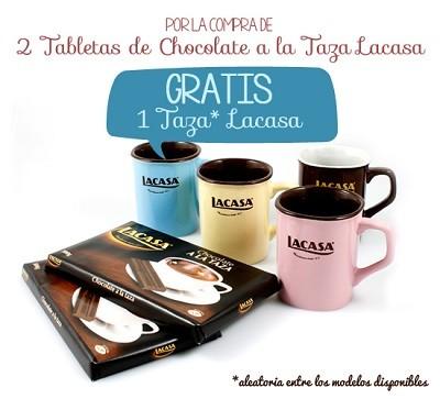 2 Tabletas de Chocolate a la Taza Lacasa + Taza Lacasa GRATIS